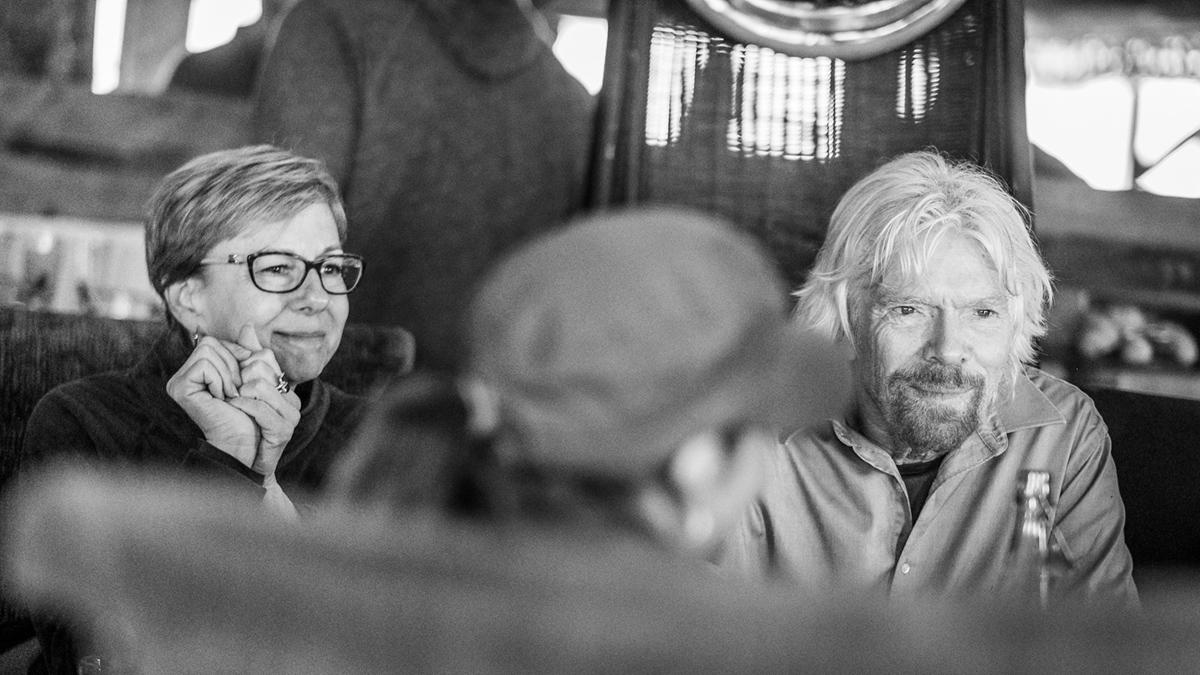 Kim Seeling Smith and Sir Richard Branson in Ulusaba, South Africa.