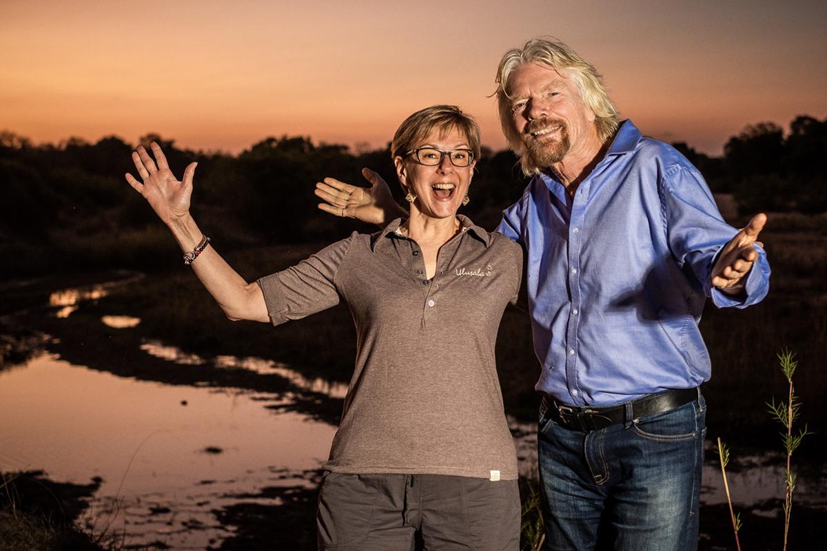 Kim Seeling Smith and Sir Richard Branson in Ulusaba, South Africa